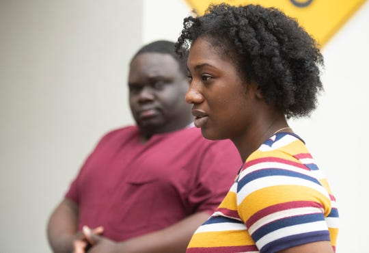 Kayla Hall and Tevin Hall-Smith talks about their family member Erin Shaquile Henry after a bond hearing for Ebony Arabia Pepper Tuesday, Oct. 8, 2019.