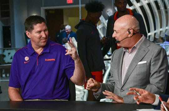 Clemson Head Coach Brad Brownell, left, and ACC Network personality Seth Greenberg, right, talks during the 2019 ACC Operation Basketball event at the Charlotte Marriott City Center in Charlotte, N.C. Tuesday, October 8, 2019.