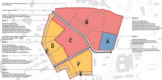 This map shows the general layout of the County Square redevelopment plan. It covers 37 acres along University Ridge. Zone F is where city planning staff had recommended placing affordable housing. Note that University Ridge is rerouted at a diagonal in this plan.