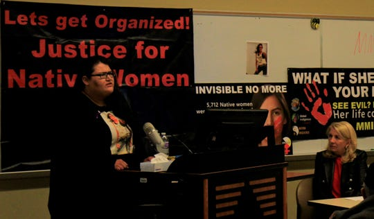 Kimberly Loring speaks at the MMIW tribunal in front of Ambassador Catherine Russell.