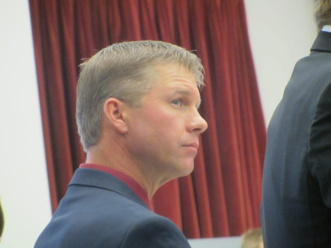 Former Valley County undersheriff Luke Strommen enters his guilty plea to one count of sexual abuse of children Tuesday, Oct. 8, 2019, in Great Falls.