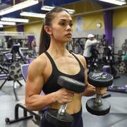 Michelob Ultra Guam National Bodybuilding Championships Bikini champion Jeralyn Mesa trains at Paradise Fitness Center in Hagåtña, Oct. 8, 2019.
