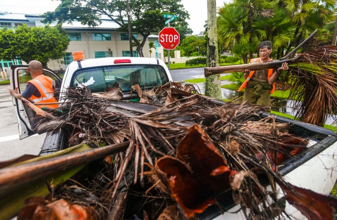 Hagåtña mayor office employees, Joseph Longa, right, and Ernie Salonga, collect fallen leaves and other debris, on and along the streets of the central village, after the close passage of Super Typhoon Hagibis on Tuesday, Oct. 8, 2019.