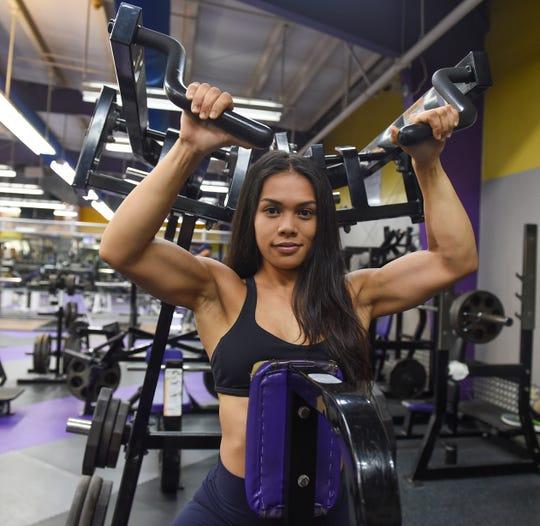 Jeralyn Mesa at Paradise Fitness Center in Hagåtña, Oct. 8, 2019.