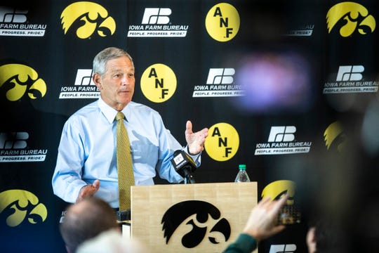 Kirk Ferentz (shown amid ANF logos in October 2019) showed an awareness of racial injustices Wednesday and a willingness to learn more.