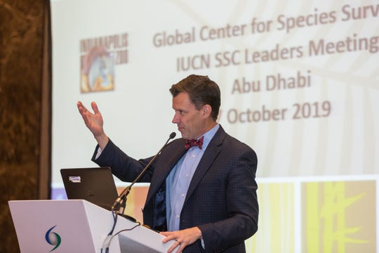 Director of the Indianapolis Zoo Rob Shumaker announces the creation of the Global Center for Species Survival at the leaders meeting in Abu Dhabi.