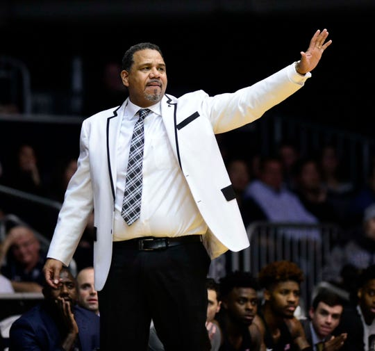 Providence Friars head coach Ed Cooley reacts in the first half of their game against the Butler Bulldogs at Hinkle Fieldhouse.