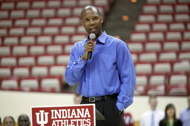 Indiana assistant coach Calbert Cheaney speaks at the Basketball Awards Ceremony at Assembly Hall in Bloomington, IN April 26, 2012.