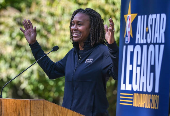 Former player for the Indiana Fever Tamika Catchings, speaks to a crowd gathered at the Governor's basketball court, Tuesday, Oct. 8, 2019, at the Governors Mansion on 46th street, Indianapolis. Governor Eric Holcomb, Mayor Joe Hogsett and members of the NBA All-Star 2021 Host Committee board announced a million-dollar statewide legacy initiative giving $50,000 gifts to 21 youth organizations around Indiana.