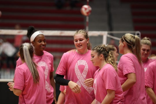 Members of IU's volleyball team wore pink last weekend in support of breast cancer awareness.