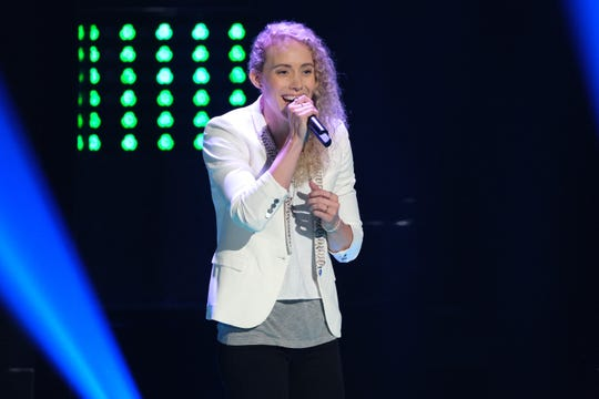 "Cali Wilson partakes in the blind auditions portion of Season 17 of ""The Voice."""