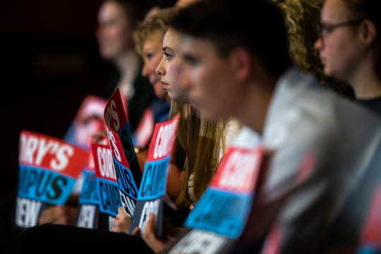 Students listen to U.S. Sen. Cory Booker, D-New Jersey, speak during a campaign event, Monday, Oct., 7, 2019, at the Iowa Memorial Union Ballroom on the University of Iowa campus in Iowa City, Iowa.