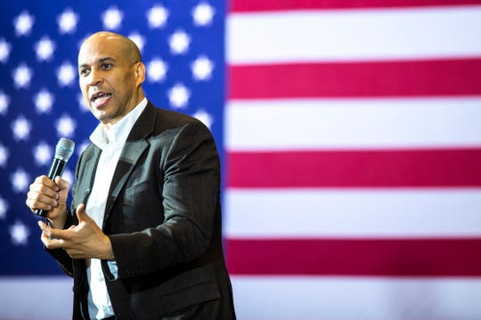 U.S. Sen. Cory Booker, D-New Jersey, speaks during a campaign event, Monday, Oct., 7, 2019, at the Iowa Memorial Union Ballroom on the University of Iowa campus in Iowa City, Iowa.