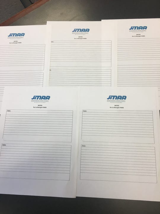 """Among the records and receipts the Jackson Municipal Airport Authority sent in response to a Clarion Ledger public records request related to its trip to the International Air Show in Paris in June were five pages marked """"Notes for Le Bourget PARIS."""" The notes are presumably for commissioners to document their experiences while at the show. Instead, they are all blank."""