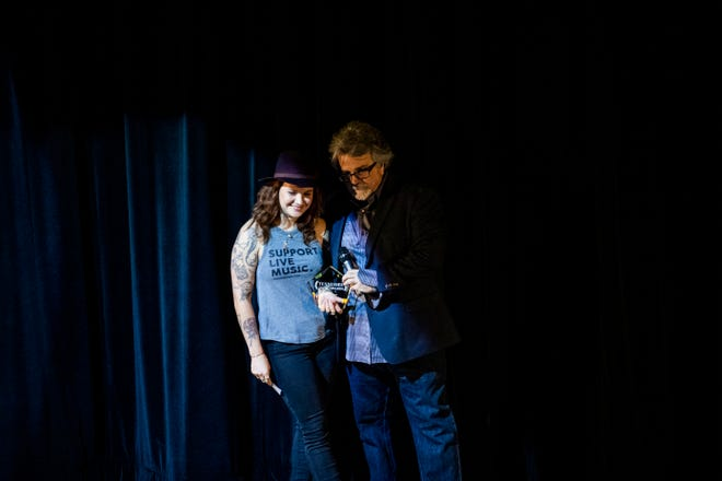 Female Vocalist of the year is rewarded to LOLO by Keith Sherley at the annual TN Music Award center at the University of Memphis-Lambuth Campus in Jackson, Tenn., Monday, Oct. 7, 2019.