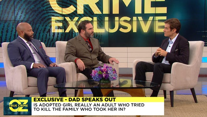 Michael Barnett, center, appeared Tuesday, Oct. 8, 2019, on The Dr. Oz Show and discussed the allegations that he and his former wife changed their adopted daughter's birth records to make her an adult, then abandoned the girl in Lafayette.