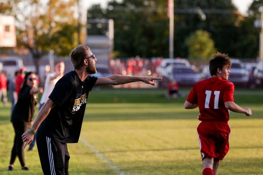 Benton Central's James Warf reacts during the second half of an IHSAA boys soccer sectional match, Monday, Oct. 7, 2019 in West Lafayette. Twin Lakes won, 1-0.