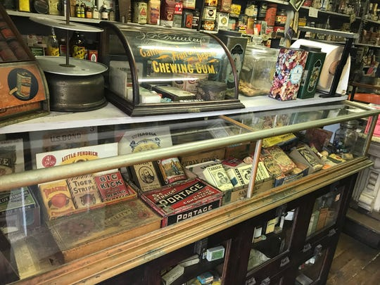 The general store museum at the Fairfield County Fairgrounds features numerous displays, including this one of vintage gum and tobacco products.