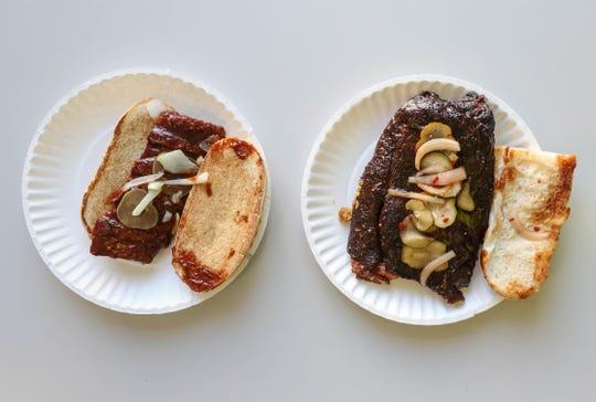 The McRib from McDonald's, left, vs. Saddleback BBQ's rib sandwich.