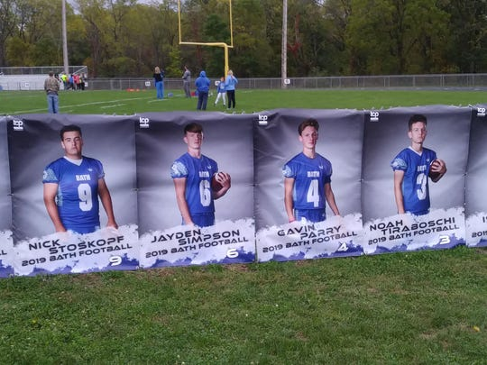 Posters of Bath High School football players were vandalized after the homecoming game, Oct. 4, 2019.