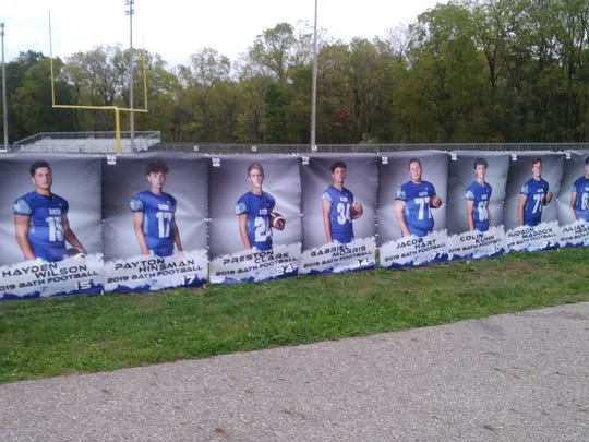 Posters of Bath High School Fighting Bees' football team were vandalized over the weekend. They were mounted on the fence prior to the Oct. 4, 2019 homecoming game.