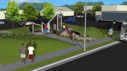 A rendering of the Town Square coming in 2020 to Holmes and Pleasant Grove roads in southwest Lansing.