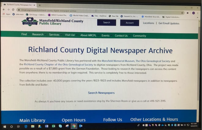Go to the Mansfield Richland County Library website to look up old newspapers. It's free.