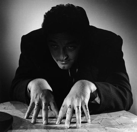 "Robert Mitchum terrifies in ""The Night of the Hunter,"" which screens as the second half of an Oct. 10 double feature."