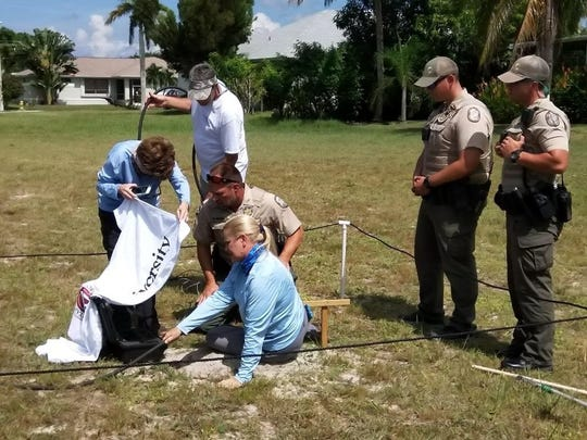 "Biologist Nancy Richie of Island Environmental scoops an owl burrow using a ""burrow scope"" on a Marco Island empty lot on Oct. 8. Next to Richie is Audubon Western Everglades owl watch leader Jean Hall and, in uniform, Florida Fish and Wildlife Conservation Commission law enforcement officers."