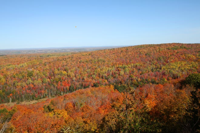 St. Peter's Dome, the highest point in the Chequamegon-Nicolet National Forest, provides a stunning view of fall colors near their peak on Oct. 8, 2019.