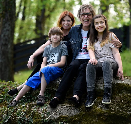 Tom Petersson of the rock group Cheap Trick with his wife, Alison, and children Liam and Lilah at their Nashville-area home.