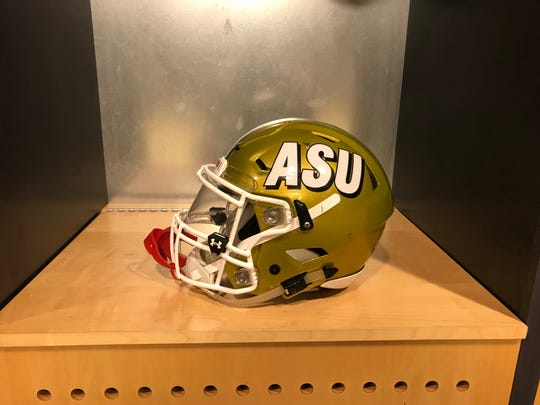 A look at Jeremiah Hixon's helmet. The ASU wideout spent roughly $450 on this SpeedFlex helmet.