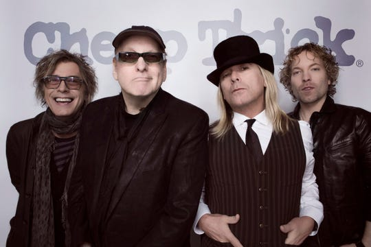 Cheap Trick is, from left, bassist Tom Petersson, guitarist Rick Nielsen, lead singer Robin Zander and drummer Daxx Nielsen, who is Rick's son.
