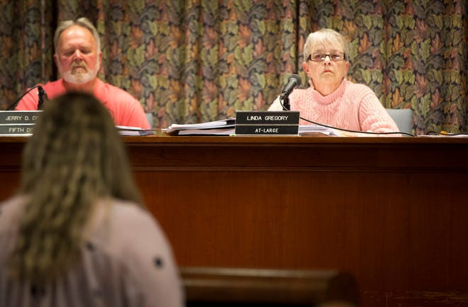 Muncie City Council member Linda Gregory listens to public comment early in the meeting Oct. 7 during the council's regular meeting. Gregory was asked to step down by multiple community members after comment made at a September meeting were taken as racist by Muncie's black community.