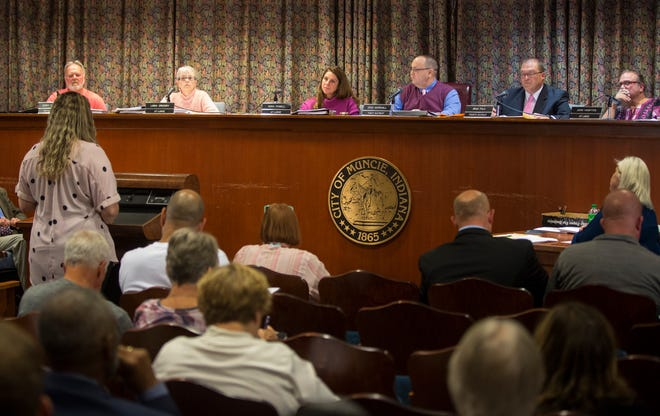 City Council listens to public comment early in the meeting Oct. 7 during the regular monthly meeting. Because of a heavy agenda and numerous public comments the meeting adjourned at 1 a.m. Tuesday morning.