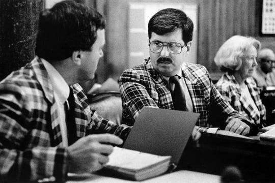 Sen. Randy McNally, R-Oak Ridge, center, listens to Senate debate as the state legislature meets May 11, 1989. At left is Sen. Lou Patten, R-Cleveland, and at right is Sen. Ruth Montgomery, R-Kingsport.