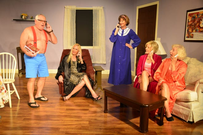 "Their new business is in full swing for the ""Old Ringers"" at Marco Players: left, Ty Szumigala (Harry), Marie Prasek  (Verna), Cindy Hile (Kathy Ann), Jackie Weiner (Rose) and  Kay Wylie-Jacob as Diane"