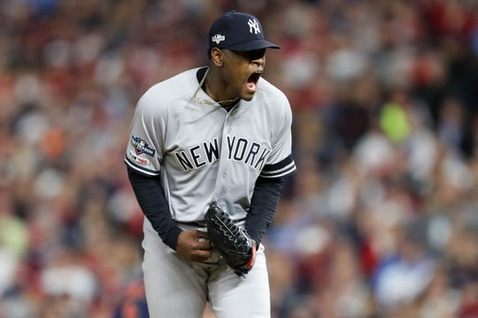 Oct 7, 2019; Minneapolis, MN, USA; New York Yankees starting pitcher Luis Severino (40) reacts during the second inning of game three of the 2019 ALDS playoff baseball series against the Minnesota Twins at Target Field. Mandatory Credit: Jesse Johnson-USA TODAY Sports