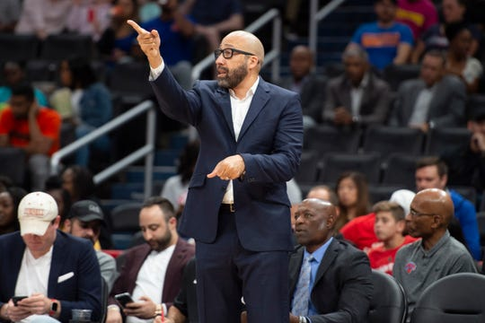 Oct 7, 2019; Washington, DC, USA;  New York Knicks head coach David Fizdale looks onto the court during the first half against the Washington Wizards  at Capital One Arena. Mandatory Credit: Tommy Gilligan-USA TODAY Sports