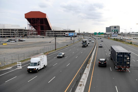 Cars drive travel on Route 120 between the American Dream mall and MetLife Stadium on Monday, Oct. 7, 2019, in East Rutherford.
