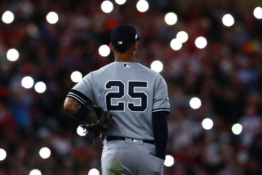 Oct 7, 2019; Minneapolis, MN, USA; New York Yankees second baseman Gleyber Torres (25) looks on during the seventh inning of game three of the 2019 ALDS playoff baseball series against the Minnesota Twins at Target Field. Mandatory Credit: David Berding-USA TODAY Sports