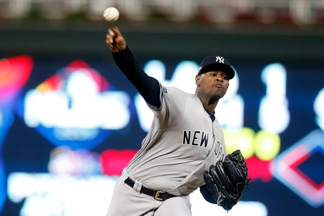New York Yankees starting pitcher Luis Severino throws during the first inning in Game 3 of a baseball American League Division Series against the Minnesota Twins, Monday, Oct. 7, 2019, in Minneapolis. (AP Photo/Jim Mone)