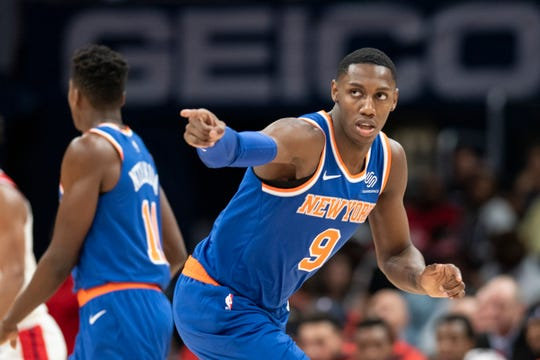 Oct 7, 2019; Washington, DC, USA;  New York Knicks forward RJ Barrett (9) reacts after making a basket during the second half against the Washington Wizards at Capital One Arena. Mandatory Credit: Tommy Gilligan-USA TODAY Sports