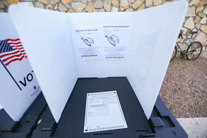Voting booths are set up at the Celebration of Democracy in Doña Ana County at the Doña Ana County Government Center in Las Cruces on Tuesday, Oct. 8, 2019.