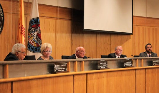 Doña Ana County commissioners during their meeting on Tuesday, Oct. 8, 2019, from left: Commissioners Ramon Gonzalez, Isabella Solis, Lynn Ellins, Shannon Reynolds and Manuel Sanchez.