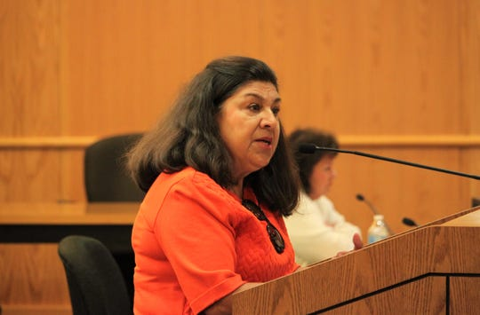 Jesusita Dolores Lucero, a former Las Cruces city councilor, urged Doña Ana County's board of commissioners to proceed carefully on PACE lending in the county during the commissioners' meeting in Las Cruces on Tuesday, Oct. 8, 2019.