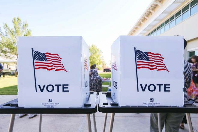 Voting booths are set up at the Doña Ana County Government Center in Las Cruces on Tuesday, Oct. 8, 2019.