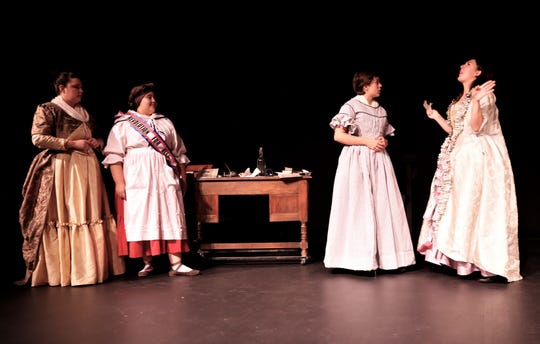 "Amber Glasgow, left, Brianna Chavez, Carissa J. Arpelar and Jacqueline Papp are featured in the San Juan College Theatre production of ""The Revolutionists"" continuing this weekend at the college."