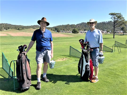 The brothers golfed at The Links at Sierra Blanca course Monday in Ruidoso.