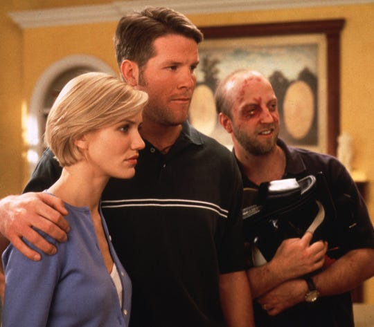 "Brett Favre (center) had a brief role in ""There's Something About Mary."""